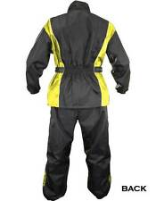 Xelement Mens 2 Piece Black & Yellow Motorcycle Rainsuit RN4782