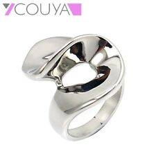 Womens Silver Finger Rings High Polish Customed Stainless Steel Swirl Party Ring