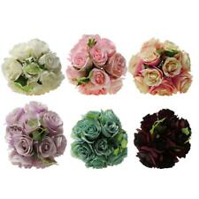 Artificial Rose Flowers Silk Bouquet Bridal Home Wedding Decor DIY 6 Colors
