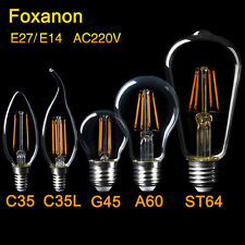 E27 E14 LED Bulb 2/4/6/8W ST64 Edison Retro Lamp Filament Candle COB light 220V