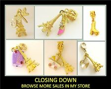 Gold Plated Child Eiffel Tower Heart Dragonfly Baby Pram Dangle Charm Pendant