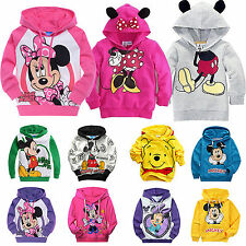 Mickey Minnie Long Sleeve Hoodies Boys Girls Hooded Jacket Sweatshirt Coat 1-9Y