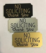 3 x 5 Engraved No Soliciting Front Door Sign Notched Corners - Adhesive Backed