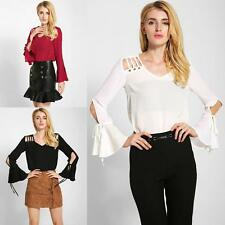 Fashion Womens Chiffon Blouse V-Neck Flare Sleeve Solid Top Shirt Pullover Z3N6