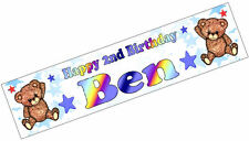 PERSONALISED BANNER NAME AGE PHOTO BIRTHDAY PARTY teddy baby brown 1st 2nd D2