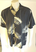 Tommy Bahama Mens Hawaiian Leaf Striped 100% Silk Relax Black Shirt Size M EUC