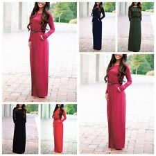 Stylish Women Casual Long Sleeve Belted Party Evening Cocktail Long Maxi Dress