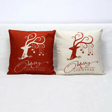 Home Decor Festive Gift Christmas Xmas Linen Cushion Cover Throw Pillow Case New