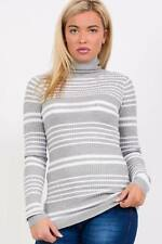 PILOT® Long Sleeve Ribbed Stripe Polo Neck Jumper in Grey
