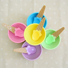 Colorful kid Ice Cream Bowls Ice Cream Cup Dessert Container Holder with Spoon