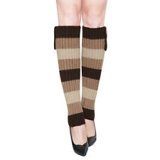 Women Three Buttons Decor Ribbed Knit Knee High Leg Warmers Pair