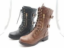 New Women Combat Military Side Zipper Buckle Lace Up Mid Calf Boots Shoes
