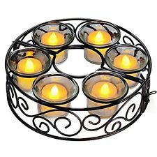 Candle Holder, TOTOBAY Round Black Wrought Iron Table Candleholder Centerpiece