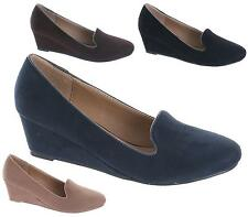NEW LADIES LOW MID WEDGE HEEL PARTY WEDDING FAUX SUEDE COURT SHOES PUMPS SIZE