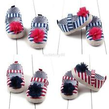 Infant Baby Kids Girl Cute Soft Sole Crib Shoes 0-12M Toddler Flower Strip Shoes