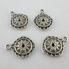 40/300pcs Tibetan Silver 14x17mm Luchy Flower Charms Pendants Beads For Jewelry