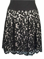Karen Millen Skirt Lace Embroidered Black Size 6 34 Pleated Skater Evening party