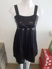 Ladies Black Evening Dress with Black Sequins & Beads -  Ajoy - Sample Size 8-10