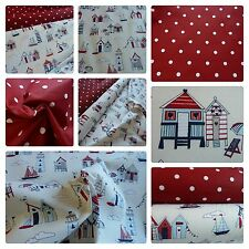 Beach Huts & Boats Fabric - & Matching Dotty Red Fabric 100% Cotton Ex Wide