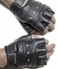 Fingerless Gloves Black Mens Lightweight Heavy Duty Genuine Premium Leather