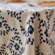 Blue Leaves Home Bar Coffee Table Cotton Linen Cloth Covering Ous