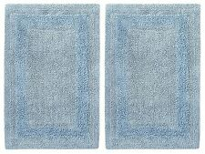 Blue Bath Mats Bathroom Spa Set Of 2 Cotton Rugs Shower Bathtub Commode Toilet