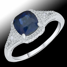 Womens 0.04 CTW Diamond 2.00 CTW Genuine Sapphire Cocktail Ring Band