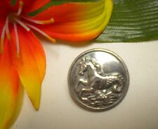 ANTIQUE METAL MYTHOLOGICAL SEAHORSE HIPPOCAMPUS VINTAGE LIVERY PICTURE BUTTON