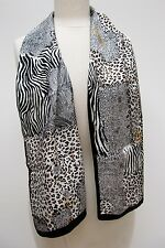 NWT AUTHENTIC Accessory St Black White Brown Animal Print Silk Scarf