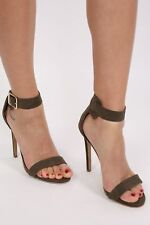 Faux Suede Strappy High Heel Sandals in Khaki Green