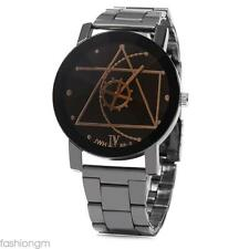 Male Quartz Casual Watch Unique Compass Pointer Stainless Steel Band Wristwatch