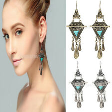 Women Bohemian Vintage Triangle Calaite Waterdrop Tassels Dangle Hook Earrings