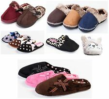 Ladies/Womens Coolers Fur Slippers Microsuede Mule Slippers Slip On Fur Collar
