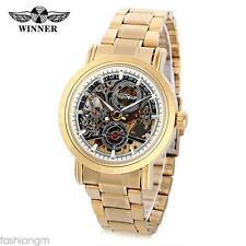 Male Auto Mechanical Watch Hollow Dial Luminous Stainless Steel Band Wristwatch