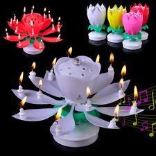 Lotus Candle Birthday Flower Musical Rotating Cake Candles Music Candle Flower