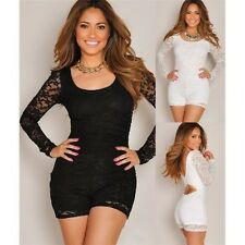 Sexi woman suit short overall BLACK WHITE long sleeves lace new year's soft