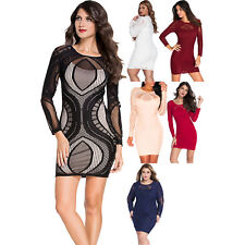 Lace Nude Illusion Long Sleeves Bodycon Dress Club Sexy Night Club Summer Autumn