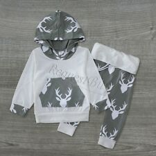 Newborn Infant Baby Girl Boy Romper+Deer Long Pants 2pcs Outfits Set Clothes