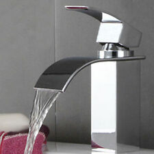 Brass Square Waterfall Basin Mixer Hot Cold Bathroom Kitchen Sink Faucet Tap VP