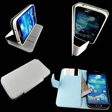 Samsung Galaxy S4 Retro White or Blue  Leather Folio Wallet  Book Case  Stand
