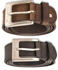 """MILANO MENS 1.5"""" REAL FULL GRAIN LEATHER BELTS MULTI COLOURS BELT SILVER BUCKLE"""