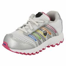 INFANTS / TODDLERS K-SWISS UNISEX WHITE LACE UP TRAINERS TUBES RUN 100 MESH