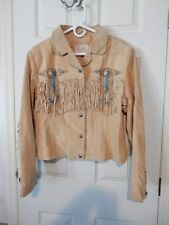 Women's Scully Tan Leather Fringed Concho & Bead Jacket, Size XXL