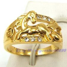 Size 8,9,10 Ring,REAL PERKY MEN HORSE GEMSTONE 18K YELLOW GOLD GP SOLID 1100r