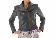 Women Gray Leather Jacket With Two Front Pockets Sz XS-3XL