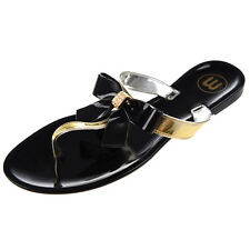 Womens Ladies Toe Bow Diamante Jelly Summer Flat Flip Flop Thong Sandals WS