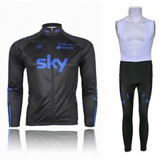 Winter Thermal Fleece Long Sleeve Wind Cycling Jersey Jacket Bib Pants Tights
