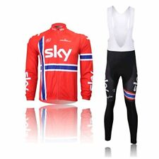 NEW Thermal Fleece Long Sleeve Wind Cycling Jersey Jacket Bib Pants Tights RED