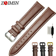 Mens Womens Smooth Genuine Leather Black Brown Watch Band Strap Belt 18mm ~ 26mm