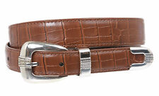 Western Crocodile Print Feather edged Leather Belt